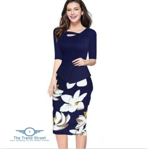 Image of Knee-Length Floral Print Half Sleeve Office Business Sheath Pencil Dress Navy / S dress