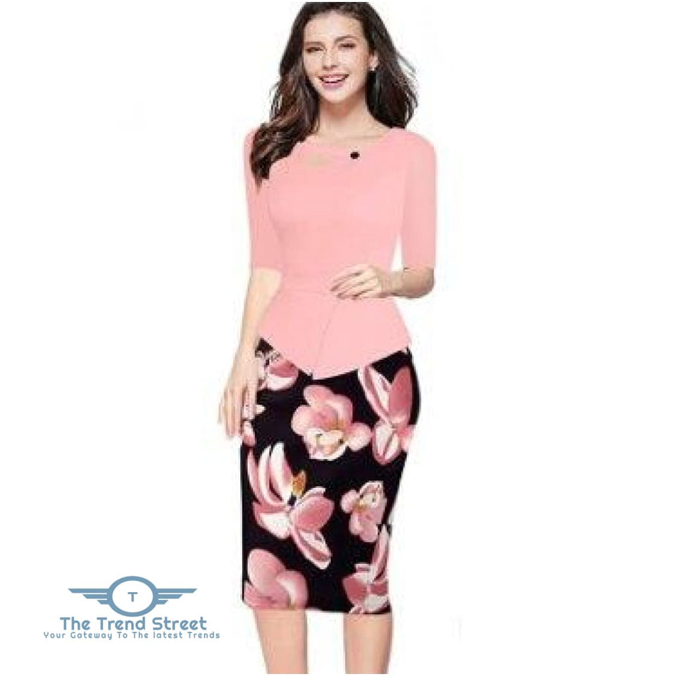 Knee-Length Floral Print Half Sleeve Office Business Sheath Pencil Dress Pink / S dress
