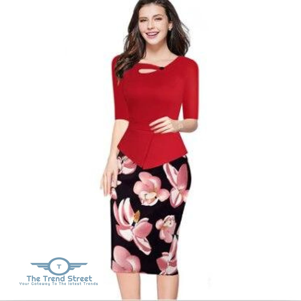 Knee-Length Floral Print Half Sleeve Office Business Sheath Pencil Dress Red / S dress