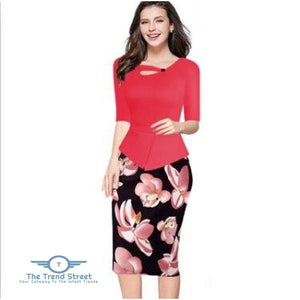 Knee-Length Floral Print Half Sleeve Office Business Sheath Pencil Dress Watermelon Red / S dress