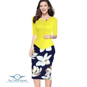 Knee-Length Floral Print Half Sleeve Office Business Sheath Pencil Dress Yellow / S dress