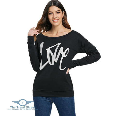 Image of Love Pattern Dropped Shoulder Sweatshirt BLACK / 2XL