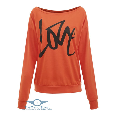 Love Pattern Dropped Shoulder Sweatshirt SUNRISE ORANGE / 2XL
