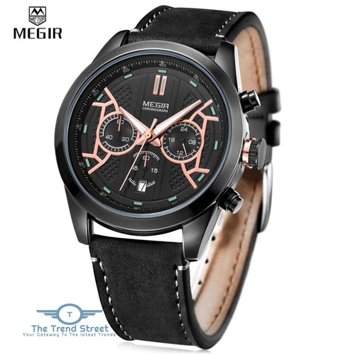 MEGIR 3016 Male Quartz Watch Chronograph 24 Hours Display Luminous Wristwatch BLACK