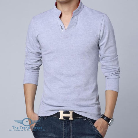 Image of Mens Long Sleeve Slim Fit Cotton T-Shirt Gray / L T shirt