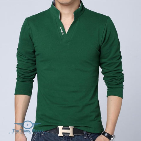 Image of Mens Long Sleeve Slim Fit Cotton T-Shirt Green / L T shirt