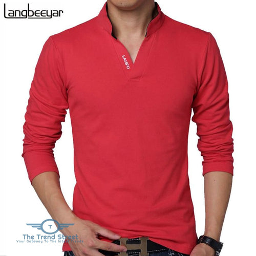 Mens Long Sleeve Slim Fit Cotton T-Shirt T shirt