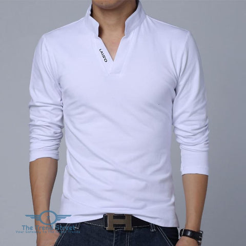 Image of Mens Long Sleeve Slim Fit Cotton T-Shirt White / L T shirt