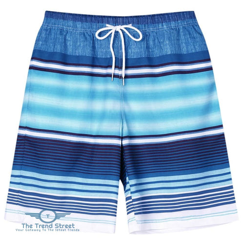 Multicolor Stripe Beach Bermuda Shorts BLUE / 2XL