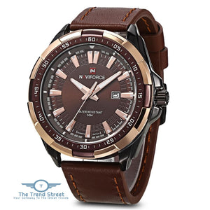 NAVIFORCE 9056 Male Quartz Watch Leather Strap 3ATM Water Resistant Luminous BROWN BLACK