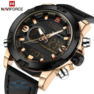 NAVIFORCE Luxury Brand Men Analog Digital Leather Sports Watches Mens Army Military Watch Man Quartz Clock Relogio Masculino
