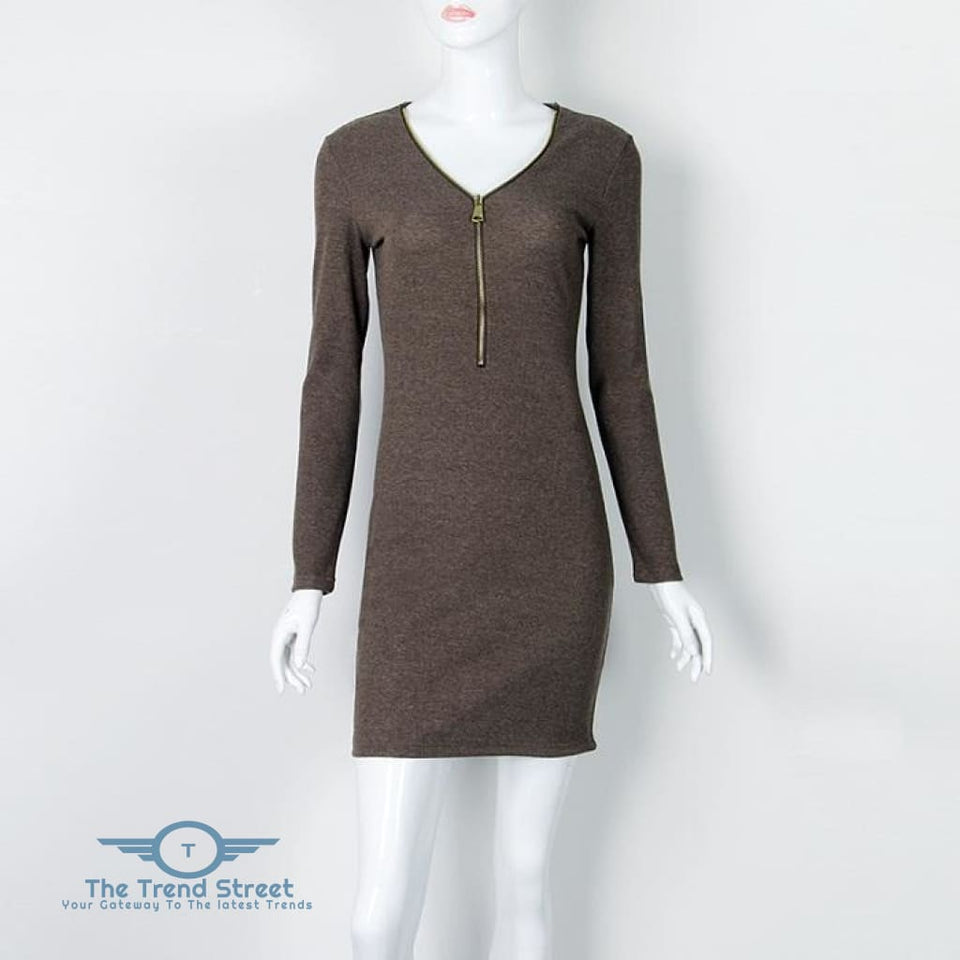 O-Neck Knitted Long Sleeve Bodycon Dress Dark Gray / S Dress