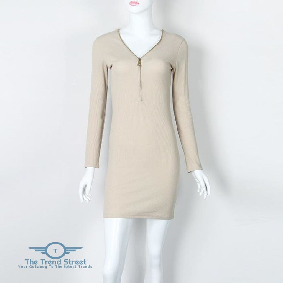 O-Neck Knitted Long Sleeve Bodycon Dress Khaki / S Dress