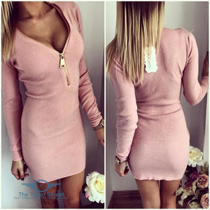 O-Neck Knitted Long Sleeve Bodycon Dress Pink / S Dress