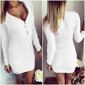 O-Neck Knitted Long Sleeve Bodycon Dress White / S Dress