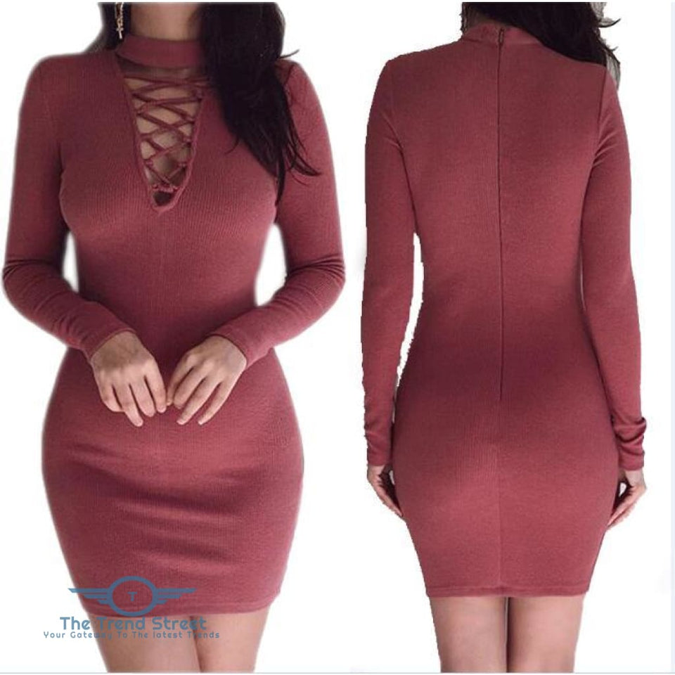 O-Neck Knitted Long Sleeve Bodycon Dress Wine Red / S Dress