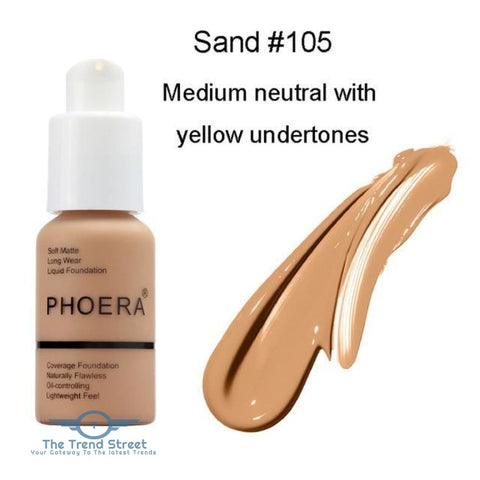 PHOERA Full Coverage Liquid Foundation One Hundred five / Buy 1 GET 50% Off