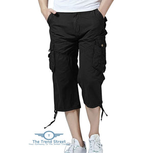 Pockets Drawstring Hem Cargo Pants BLACK / 32