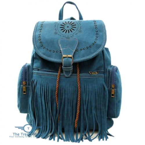 Retro Engraving and Fringe Design Womens Satchel BLUE