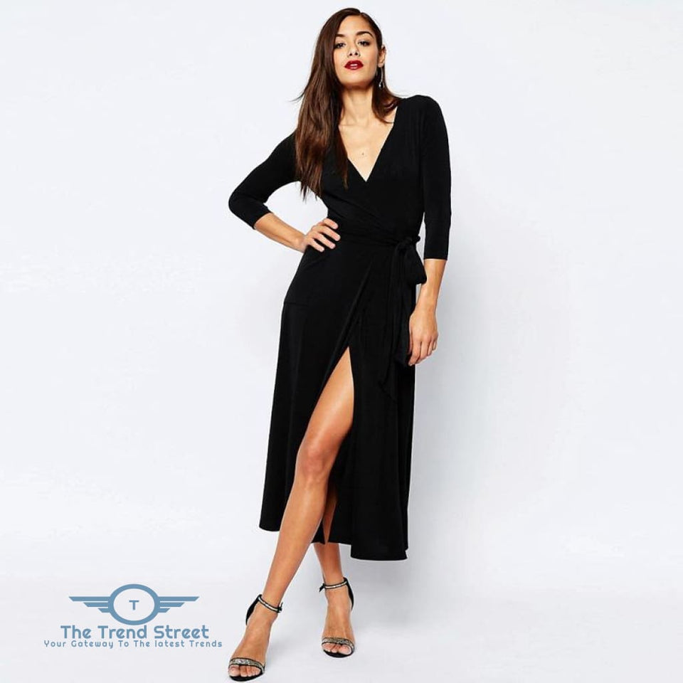 Sexy Split Vneck 3/4 Sleeve Maxi Long Dress Black / S Dress