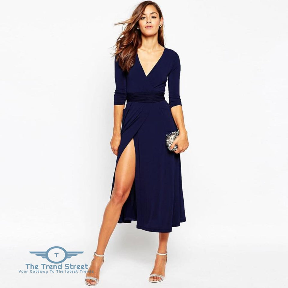 Sexy Split Vneck 3/4 Sleeve Maxi Long Dress Navy / S Dress