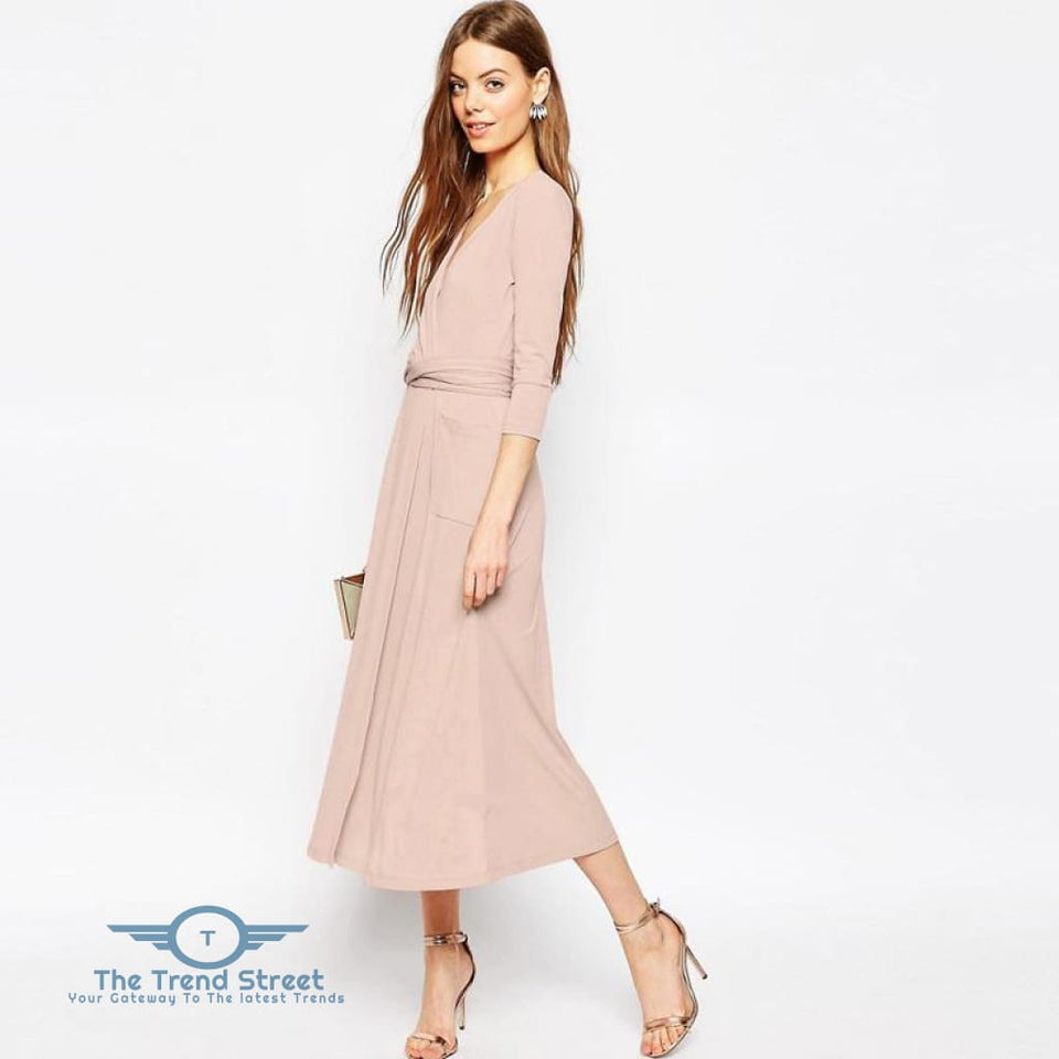 Sexy Split Vneck 3/4 Sleeve Maxi Long Dress Peach / S Dress