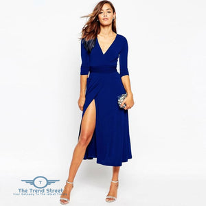 Sexy Split Vneck 3/4 Sleeve Maxi Long Dress Royal Blue / S Dress