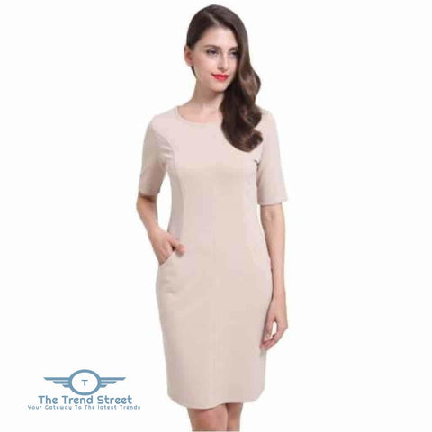 Image of Short Sleeve Shift Dress 6007Beige / S Dress