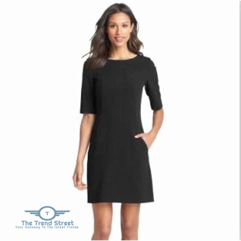 Image of Short Sleeve Shift Dress 6007Black / S Dress