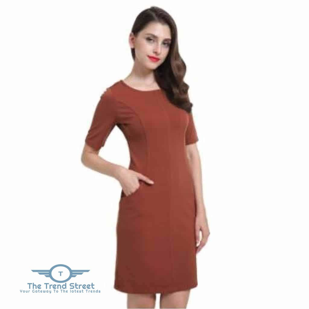 Short Sleeve Shift Dress 6007Brown / S Dress