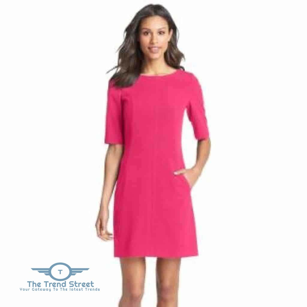 Short Sleeve Shift Dress 6007Hot Pink / S Dress