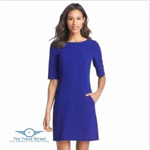 Image of Short Sleeve Shift Dress 6007Royal Blue / S Dress