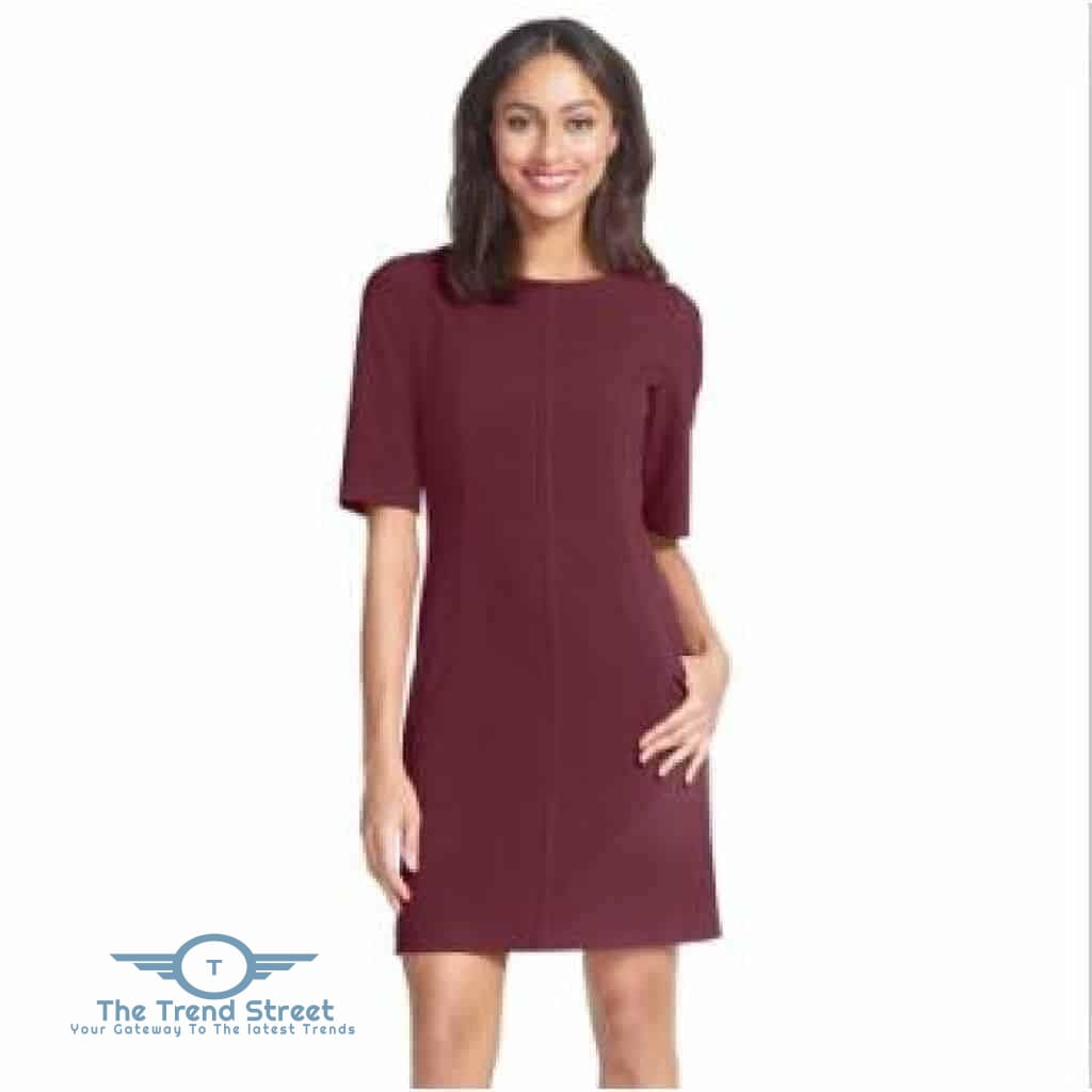 Short Sleeve Shift Dress Burgundy / S Dress