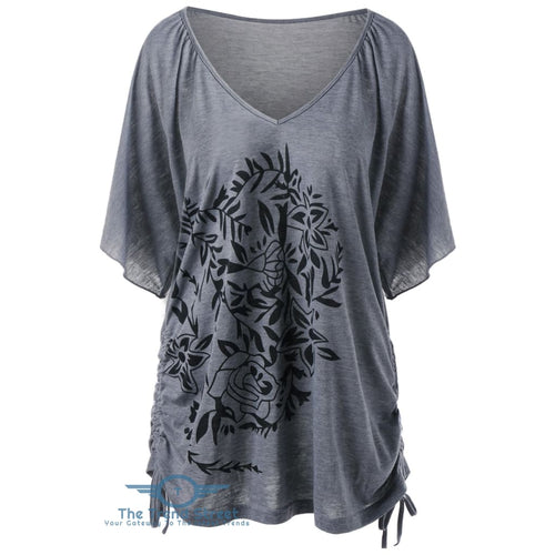 Side Drawstring Floral Plus Size T-Shirt GRAY / 3XL