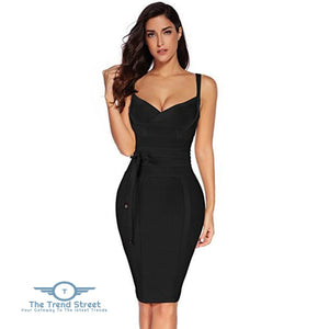 Sleeveless Summer Deep v Neck Bandage Dress Black / L / China Dress