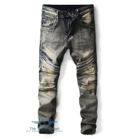 Image of Slim Fit Distressed Ripped Jeans DENIM DARK BLUE / 32