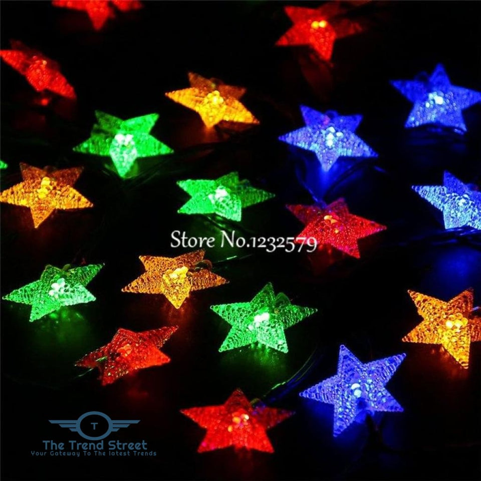 Solar Powered Frosted Star String Fairy Lights colorful / 5M 20LED Home Decoration