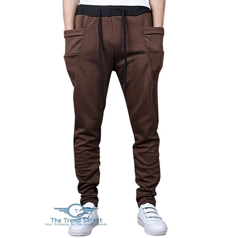 Solid Color Pockets Design Drawstring Jogger Pants COFFEE / 2XL