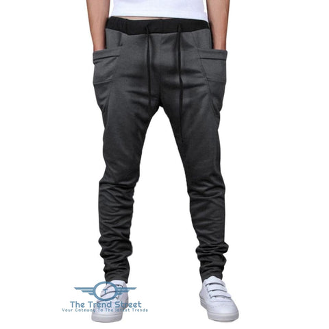 Image of Solid Color Pockets Design Drawstring Jogger Pants LIGHT GRAY / 2XL