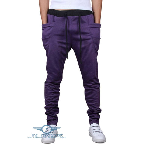 Image of Solid Color Pockets Design Drawstring Jogger Pants PURPLE / 2XL