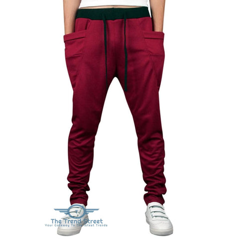 Image of Solid Color Pockets Design Drawstring Jogger Pants RED / 2XL