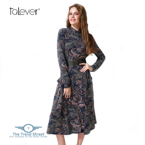 Spring Autumn Women Casual Cashew Flowers Print Dress Dress