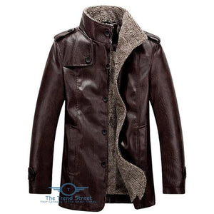 Stand Collar Flocking Single Breasted PU-Leather Jacket COFFEE / 2XL