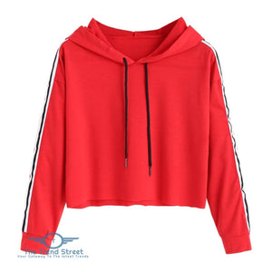 Striped Cropped Hoodie RED / L
