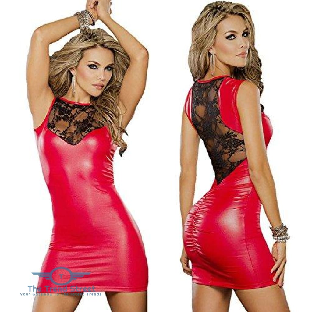 Tight-fitting Lace Dress slim Wet Look Vinyl PVC dress 2 / S Dress