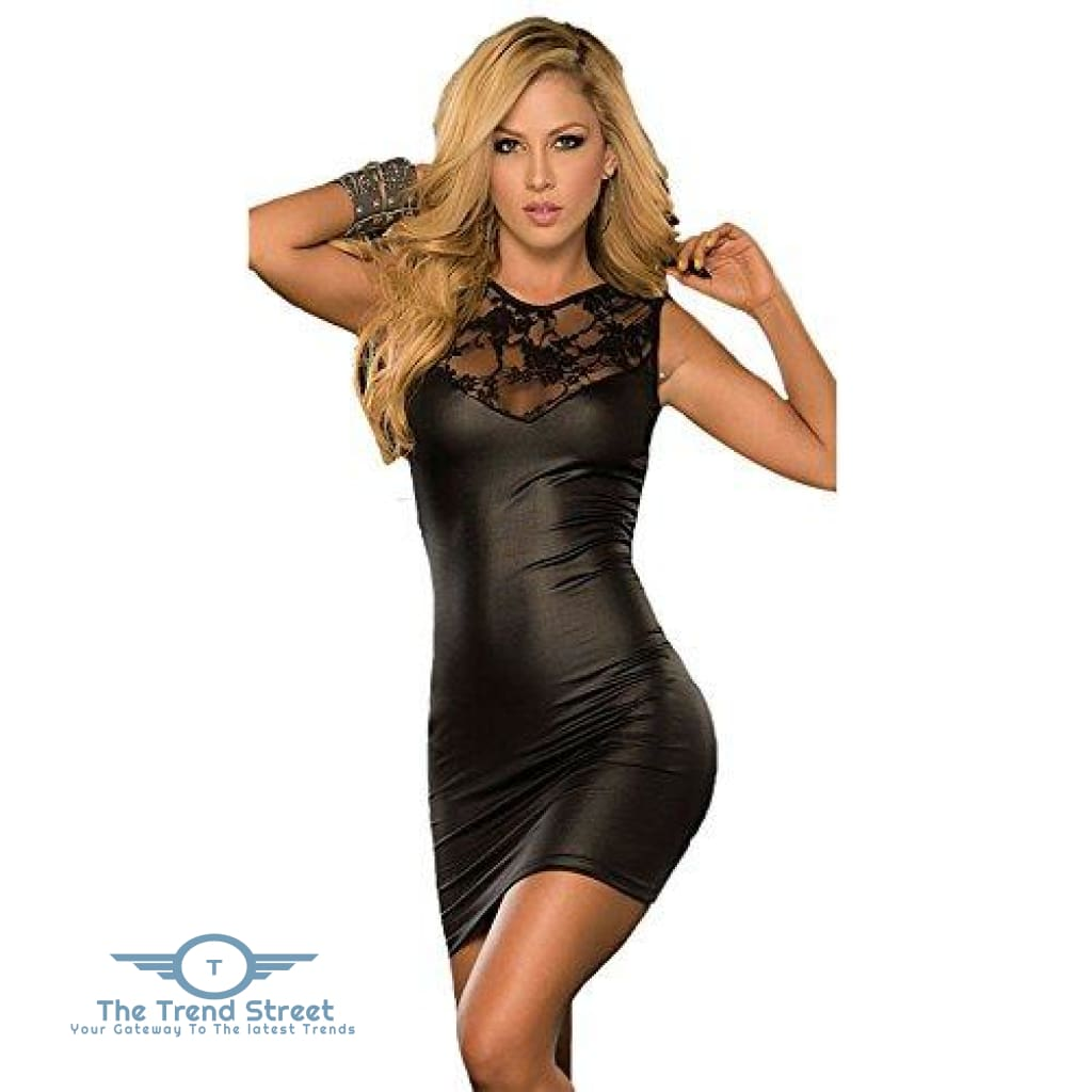 Tight-fitting Lace Dress slim Wet Look Vinyl PVC dress Dress