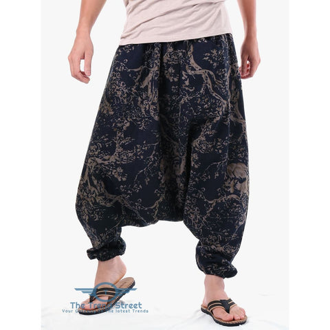 Image of Vintage Tree Print Harem Pants CARBON GRAY / ONE SIZE
