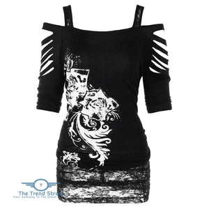 Women Cold Shoulder Hollow Sleeve Printed Floral Lace Shirt Female Blouse BLACK / 2XL