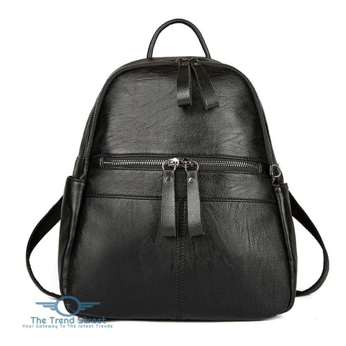 Womens Backpack Solid Color Brief Design Versatile Top Fashion All-match Bag BLACK / HORIZONTAL