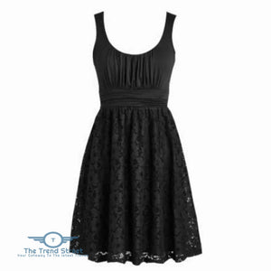 Womens Plus Size Wedding Party Cotton Lace Short Dress 6016Black / S Dress